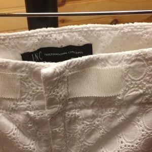 White Embroidered Capri Pants
